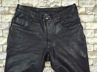 HEIN GERICKE Leather Motorcycle Pants M 32 32 Vintage Black Cruiser Biker Metal