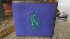NEW WITH BOX Ralph Lauren Polo Big Pony Leather Canvas Bifold Purple  Wallet