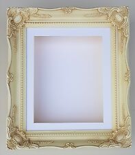 "3D 12""x10"" Cream Ornate Picture Memory Frame Display Shadow Box Medal 1.25""/32mm"