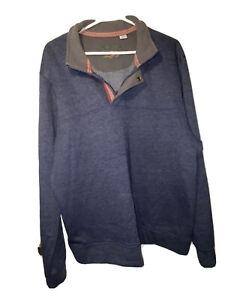 Orvis Mens Signature Blue 1/4 Zip Snap Sweat Shirt Pullover Size XL