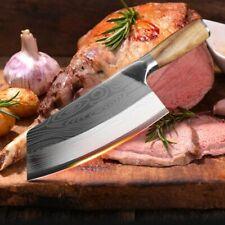 Küchenmesser Damaskus Lasermuster Kochmesser Metzgermesser Fleischbeil Edelstahl
