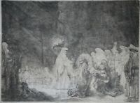 REMBRANDT VAN RIJN (1606-1669) ORIGINAL 1639 ETCHING ON PAPER SUPERB - SIMEON