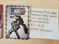 Gundam M.S. War Trading Card Game 200 Bandai. LOT OF 63 cards. INCOMPLETE. VG-EX