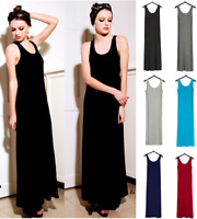 Quality MODAL Sleeveless Casual Dress Classic Womens Black Long Dress Fast Post