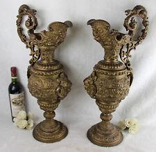LARGE PAIR antique French bronze ewers Vase Gothic dragon satyr devil lion putti