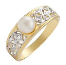 18K Solid Gold Ring w Pearl & Diamond Size 6
