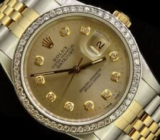 Rolex Mens Datejust Oyster Gold Steel Diamond Dial Bezel Watch