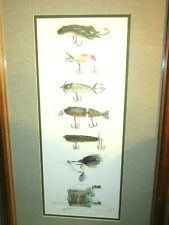 ORIG.PRINT OF VINTAGE FISHING LURES AND FISHING REEL-FRAMED-BY MARILYN JOHNSON