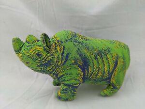 "Applause Mini Green Rhino Plush 3.75"" 1992 Determined Stuffed Animal Toy"