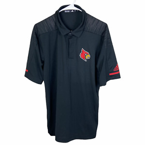 Louisville Cardinals Adidas Polo Shirt Medium Black Gray Red Climalite Wicking