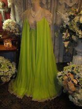 Elegant~Vtg Lucie Ann Rare Lime Green Chiffon Nightgown & Peignoir~Sz S~32