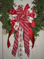 CHRISTMAS BOW CANDY CANE WIRED RIBBON HOLIDAY WREATH LANTERN GARLAND # 23 rb