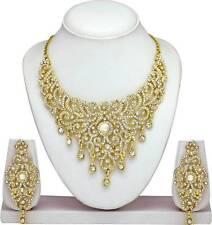 Indian Bollywood Style Fashion Wedding Gold Plated Bridal Necklace Ethnic Set