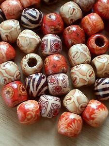 WOODEN Ball BEADS Ethnic Boho Mixed Spacer 12mm Hole 5mm Macrame Jewellery Craft