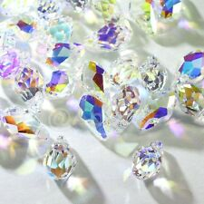 12 pcs Swarovski 6007 9mm Small Faceted Briolette Teardrop Crystal CLEAR AB