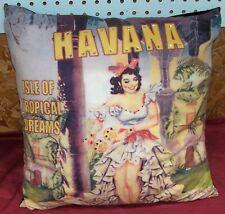 """Havana Cuba Souvenir Pillow Old Vintage 1960s 1950s Retro Décor Throw 18"""" Square"""