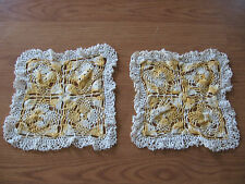 2 vintage small peach / white pineapple colored hand crocheted crochet doilie 8""