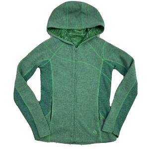 Mountain Hardwear Green Wool Blend Sz Small Hoodie Sweatshirt Jacket Full Zip