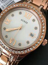Guess Women's Rose Gold Tone Bracelet Date Crystal Watch U0848L3 NWT Box