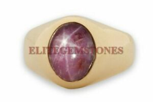 Natural Star Ruby Gemstone with Gold Plated 925 Sterling Silver Men's Ring 1714