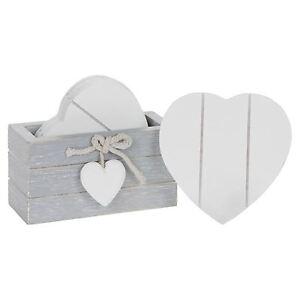 Provence Grey Set 6 White Heart Coasters 10cm High Shabby Wood Chic Heart Detail