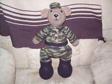 Crochet 15 in Teddy Bear in camo doll animal toy handmade