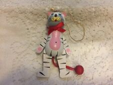 """Ornament Pull Cord Toy Cat red Bow  Wooden 4"""""""