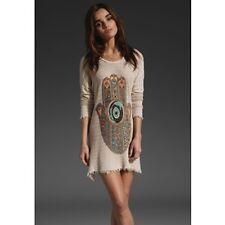 LAUREN MOSHI Beverly Hills Nude Blush Knit Hamsa Vicky Fringe Sweater Dress EUC