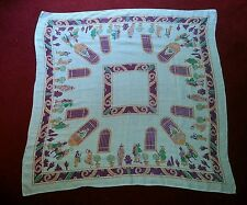 VINTAGE SQUARE LUNCHEON TABLECLOTH WITH MEXICAN DESIGN 47 INCHES X 47 INCHES