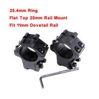 25.4mm Ring 20mm Flat Top Rail 11mm Dovetail Rail Mount For Rifle Sight 2PCS