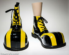 Clown Shoes Black & Yellow Over Sized Bubble Toe High Top Comic Costume Shoes OS