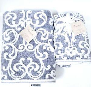 NEW HOME FOCUS BAMBOO ECO-MELANGE NAVY DENIM BLUE,WHITE DAMASK BATH,2 HAND TOWEL