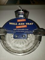 Wall Mount Ashtray Clear Glass Art Deco Ashtay Shiny Metal Holder Vintage NOS