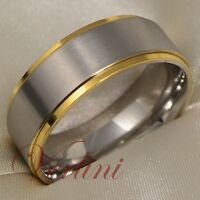 Men's Titanium Ring 14K Gold Wedding Band Bridal Jewelry Hot Matte Top Size 6-13