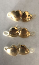 """Heart Shaped Shank Buttons Vintage 1/2"""" Gold"""