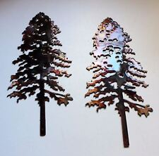 """Pine Tree Pair Metal Wall Art Decor Accent Each measures 10""""x 4"""""""