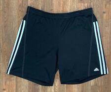 Adidas Men's Black Athletic Shorts White Trim 3 Stripes. Elastic Waist Logo Sz M