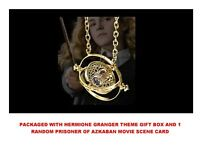 18K GP Harry Potter Gold Time Turner Hermione Granger Rotating Necklace Gift Box