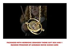 18K GP Harry Potter Gold Time Turner Hermione Granger Rotating Necklace Gift Box
