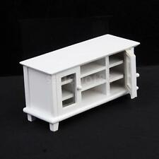 Dollhouse Miniature White Painted Wooden TV Cabinet Stand w Working Door