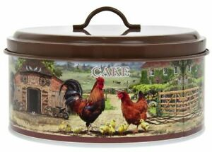 VINTAGE STYLE COCKEREL AND HEN COUNTRY METAL ROUND CAKE STORAGE TIN CONTAINER *