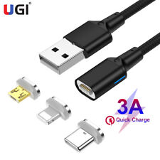 3A Magnetic Micro USB Type-C Fast Charging Cable Charger Cord for iPhone Samsung