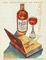 1943 Kentucky Tavern Straight Bourbon Whiskey 100 Proof Vintage Color Print Ad