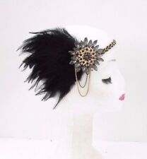 Black Gold Chain Feather Headband 1920s Flapper Headpiece Great Gatsby Vtg 3871