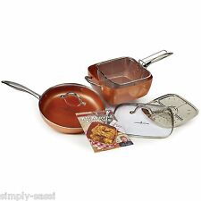 "Copper Chef Pro 7-Pc XL 11"" & 12"" inch Pan Cookware Set with Lids As Seen On TV"