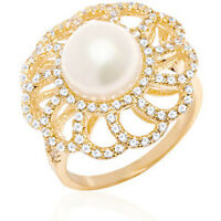 Sevil 18K Gold-Plated Gold & Natural Shell Pearl Flower Ring: Size 6