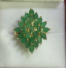 14kSolid Yellow Gold Cluster Ring 3.96GM4.50CT Natural Emerald Marquise Size 7.5