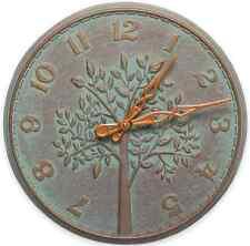Tree of Life Wall Clock, Copper Verdigris, Rustic Indoor Outdoor, Home Art Decor