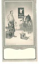 1926 TRADE CARD FISK TIRES BLACKSMITH ANVIL HORSESHOE HORSE BOY PAJAMAS CANDLE