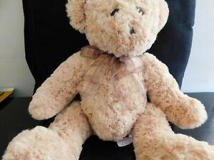 "Tesco curly plush teddy bear, caramel colour, checked ribbon bow, approx 16"""